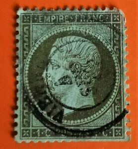 N° 19 1C VERT-OLIVE (TB-1248-1) EMPIRE FRANC DENTELE OBLIT Cad Vienne COTE 95€