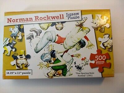 "*BRAND NEW* Norman Rockwell 500 pc Jigsaw Puzzle /""Four Sporting Boys Football/"""