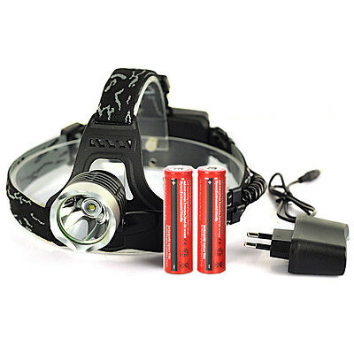 2500LM XM-L T6 LED Headlight Headlamp Head Light Lamp Torch+2x18650+ EU Charger
