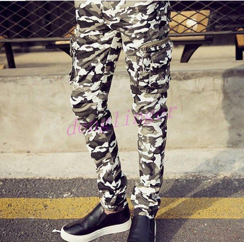 Camouflage Baggy Slim Fit Casual Cargo Mens Cotton Blend Pant Military Trousers