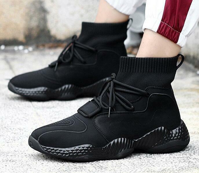 New arrival Mens Black High Top Sneakers Lace Up Ankle Sport Boots Fashion shoes