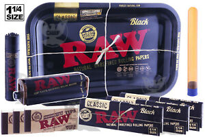 RAW-BLACK-10pc-Ultimate-Kit-Tray-1-25-Papers-Lighter-Tips-Rolling-Machine-Tube
