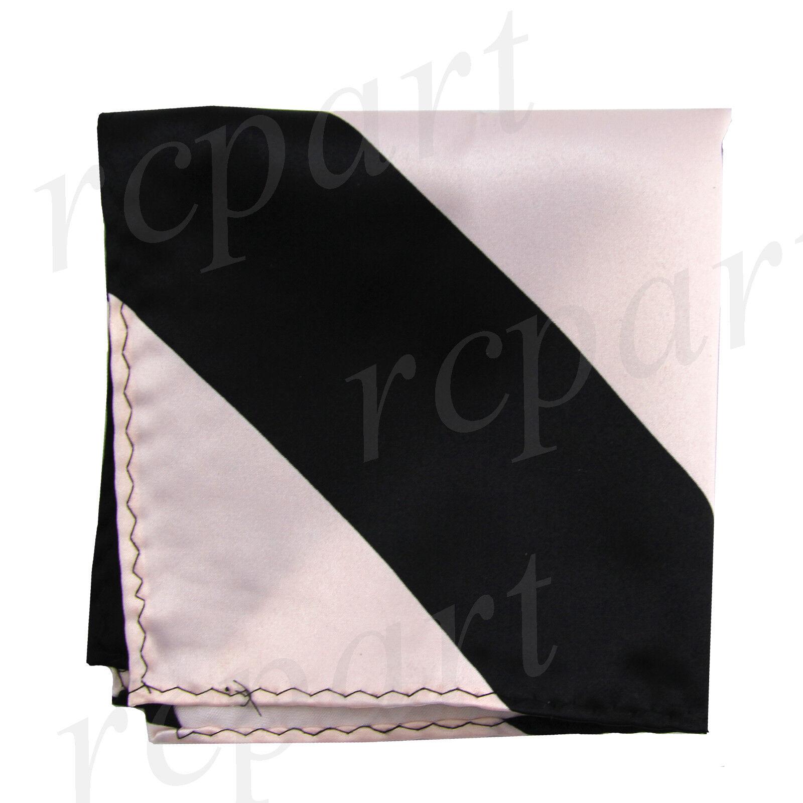 New men's polyester stripes pocket square hankie handkerchief pink black formal