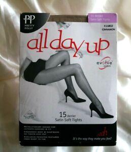 97f1bdf8149 Vintage Pretty Polly All Day Up Satin Soft Pantyhose Tights Cinnamon ...