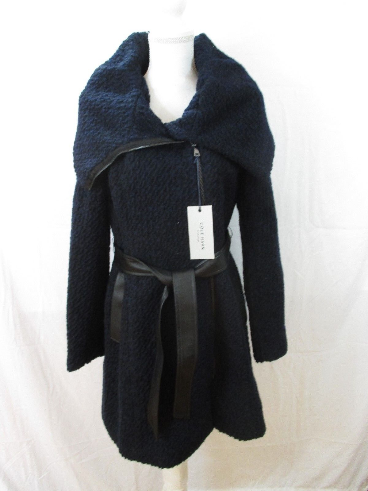 New Cole Haan Belted Asymmetrical Bouclé Wool Blend Coat