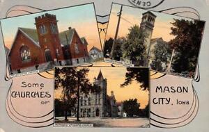 MASON-CITY-IA-Presbyterian-Congregational-M-E-Churches-1912-Vintage-Postcard