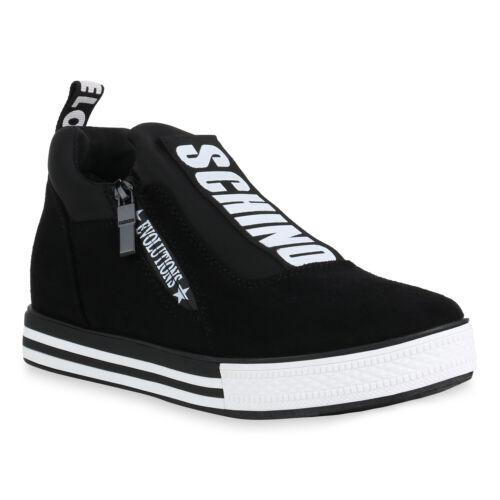 Damen Plateau Sneaker Keilabsatz Turnschuhe Wedges Keilsneaker 826270 Trendy