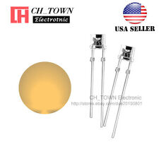 100PCS 3mm Flat Top Water Clear Warm-White Light Wide Angle LED Diodes USA