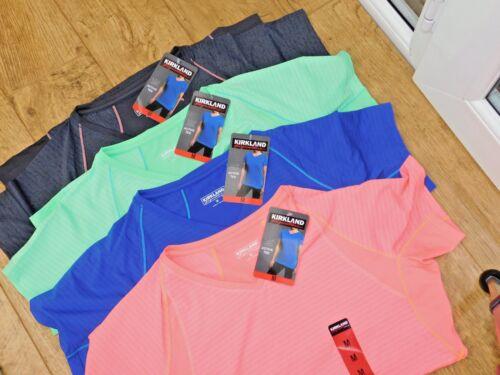 Kirkland Signature Donna attiva semi aderente in tessuto traspirante V collo T Shirt nuova con etichetta