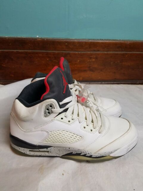 Nike Air Jordan 5 Retro GS White Cement Shoes Size 5y 440888-104