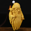 "thumbnail 3 - 3.1"" Chinese Box-wood Hand Carving Taoism Longevity God Old Man Statue Pendant"
