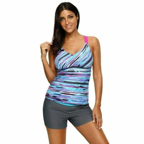 Damen Gestreift Tankini Top Bikini Bademode Badeanzug Multi Farbig Strand Sommer