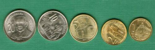 1 2 5 10 20 dinara  UNC SERBIA SRBIJA YUGOSLAVIA FULL COIN SET  2011 .g