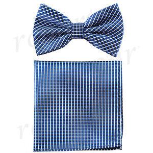 New Men's micro fiber Pre-tied Bow tie & hankie set blue plaids checkers formal