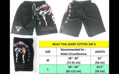 NEW MUAY THAI SHORT MEN BOXING SHORTS BLACK COLOR SIZE L ART COTTON 100/% SPORT
