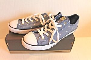 0e4eb71e2139 Converse All Star Junior Navy Gold White Polka Dot Sneakers Shoes ...