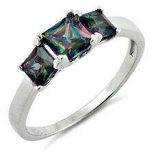 .925 Sterling Silver Ring size 4 CZ Engagement Wedding Mystic Topaz New pv55