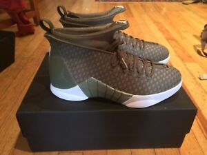 e9a75c3a3028e9 Men s PSNY x Jordan XV Limited Edition Woven Olive Green Size 9.5