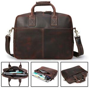 "15/"" Mens Brown messenger leather bag satchel crossbody laptop bag briefcase NEW"