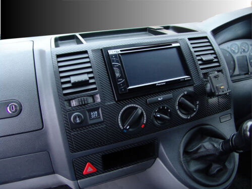 VW VOLKSWAGEN T5 TRANSPORTER DASH fibre de carbone effet Dash Garniture Kit 2003-2009