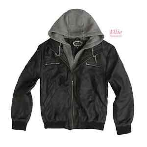 cd394fc63 Details about Women's Black/Heather Grey Moto Bomber faux leather Jacket  with hood (1X-3XL)