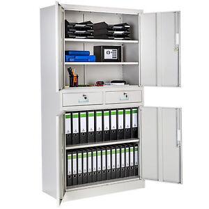 Armoire-de-rangement-metallique-4-portes-2-tiroirs-meuble-de-bureau-180x90x40cm