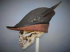 Image is loading Robin-hood-brown-leather-hat-pirate-feather-costume- ae794bd4941