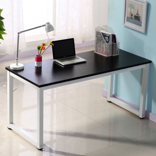 MDF Board Computer Desk Home Office Writing Table WorkStation Wooden /& Metal