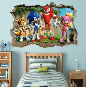 Sonic The Hedgehog 3d Smashed Wall Decal Removable Wall Sticker Tails Kids H181 Ebay
