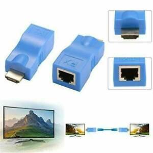 Cat-5e-6-Netzwerk-2Pcs-HDMI-Extender-RJ45-Netzwerk-Ethernet-4K-Adapter-HD-1080P