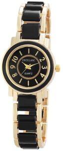 Excellanc-Damenuhr-Schwarz-Gold-Arabische-Ziffern-Analog-Metall-X180801000001