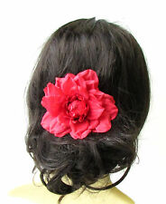 Large Red Dahlia Flower Hair Comb Bridesmaid Big Rose Rockabilly 1950s 1729
