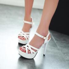 Womens High Heels Platform Belt Buckle Slingbacks Faux Leather Shoes Sandals T87