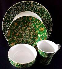 222 Fifth Pilar Emerald Green 16pc Dinnerware Set Serving For 4 New