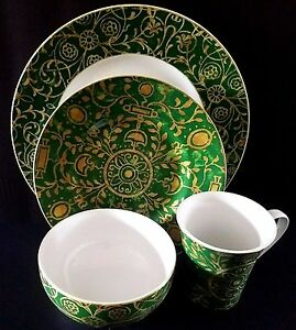 222 Fifth Pilar Emerald Green 16pc Dinnerware Set Serving For 4 New ...