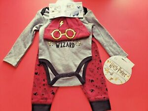 BOYS-INFANT-HARRY-POTTER-3-PIECE-SET-BODYSUIT-PANTS-AND-HAT-SIZE-3-6-MONTHS-NWT