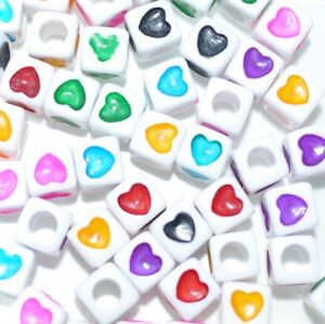 white black assorted hearts cube acrylic beads 7 mm //40pcs