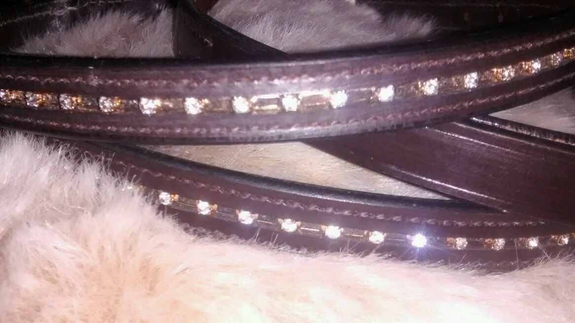 Bridle Leather Dog Puppy Collar and Lead Diamante Set Exquisite Quality 4 sizes