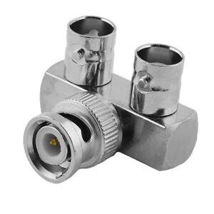 BNC-L-Adapter-Verteiler-Splitter-Stecker-1-auf-2-Buchse-Kupplung-weiblich-IN-OUT