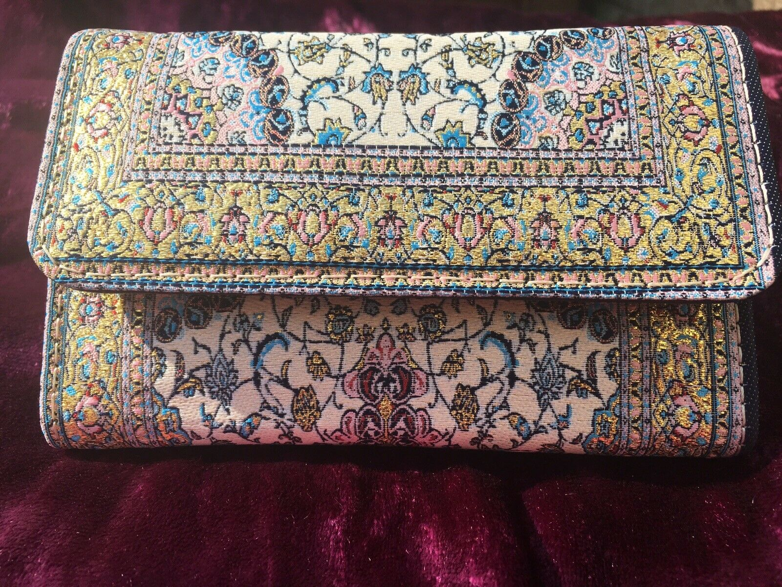 Oriental Gold Embroidered Purse, Clutch, Wallet, Ethnic, Boho, Ladies Gift 💝