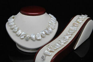 AAA-Natural-Shape-White-Biwa-Pearl-Necklace-Bracelet-Set-18-034-7-5-034-Long