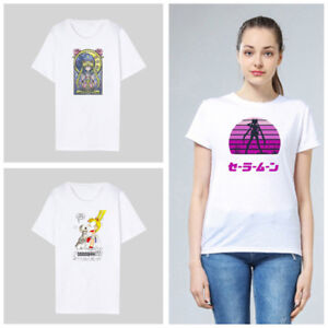 Women-Sailor-Moon-Cartoon-Print-T-shirt-Japanese-Anime-Polyester-Summer-Top