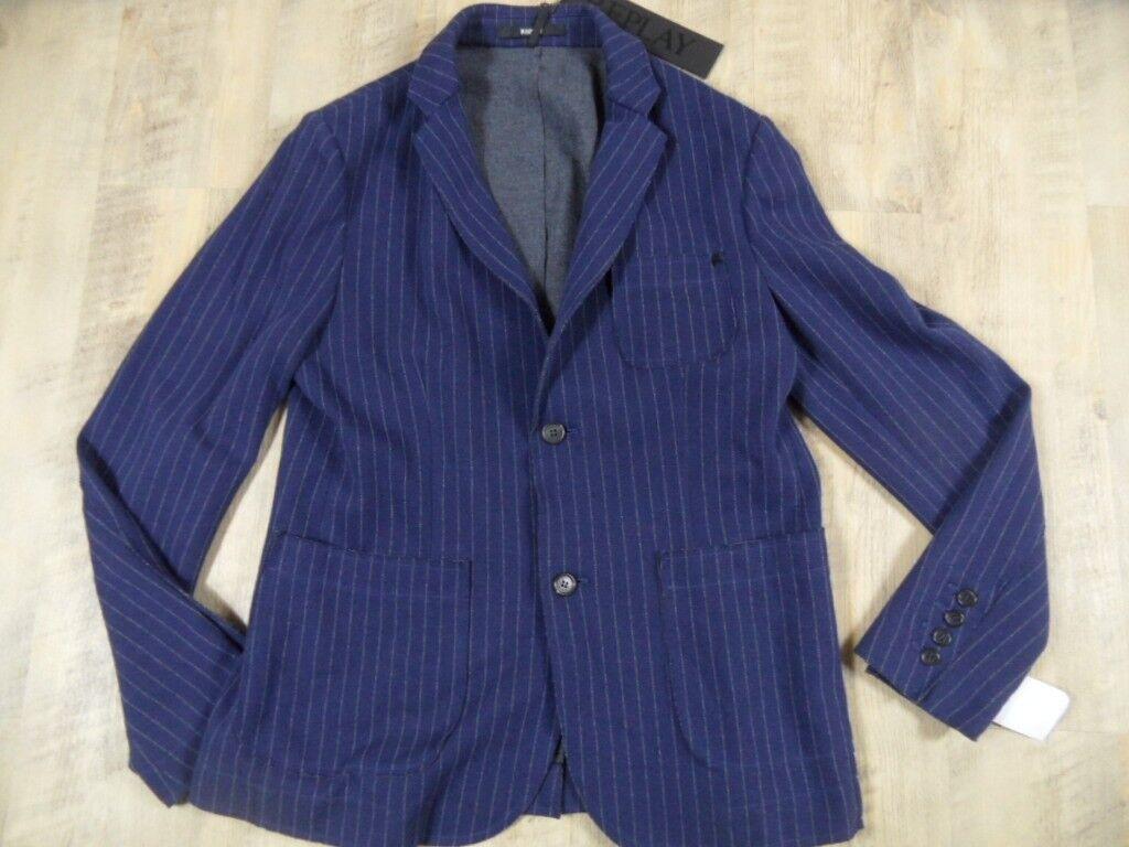 REPLAY cooles Jerseysakko blue Nadelstreifen Gr. L  NEU