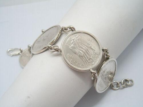 Centenario Bracciale in Argento 925 con monete da 500 lire Caravelle Quadriga
