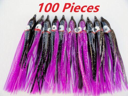 "10-100 pcs  4.75/"" Hoochies Octopus Squid Skirts Fishing lures Black//Purple"