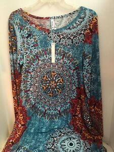 Womens-Long-Sleeve-Loose-Casual-Dress-Abstract-Floral-Mix-Blue-M