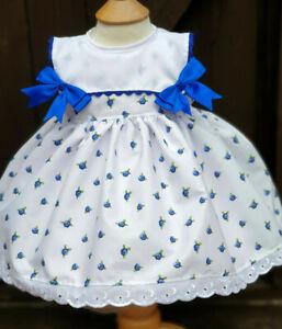 Dream 0-7 Ans Bleu Royal Floral Été Doublé Robe Ou Reborn Dolls-afficher Le Titre D'origine