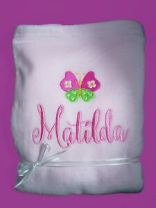 Personalised-Baby-Blanket-Cot-Pram-Butterfly-Any-Name-75cmx-90cm-Gift-Embroidery