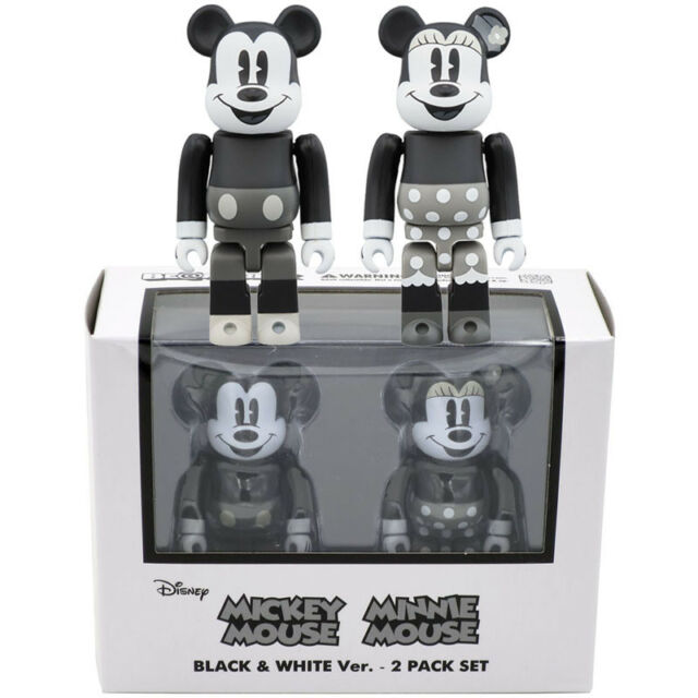2768479f Medicom Be@rbrick Bearbrick Disney Mickey Mouse & Minnie Mouse (B&W) ...