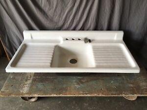 Vtg Cast Iron Porcelain Double Drainboard Single Basin Kitchen Sink